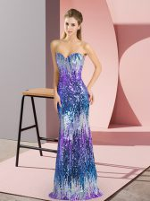 Multi-color Lace Up Sweetheart Sequins Homecoming Dress Sleeveless