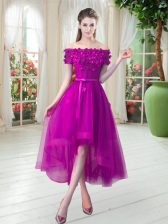Fancy Fuchsia Homecoming Dress Prom and Party with Appliques Off The Shoulder Short Sleeves Lace Up