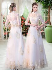 Fashionable White 3 4 Length Sleeve Appliques Floor Length Prom Dresses