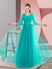 Trendy Long Sleeves Tulle Floor Length Lace Up Prom Dress in Turquoise with Beading
