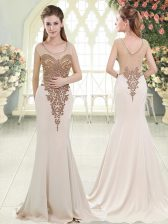 Charming Scoop Sleeveless Sweep Train Side Zipper Prom Party Dress White Elastic Woven Satin