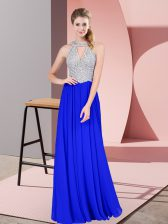 Gorgeous Floor Length Empire Sleeveless Royal Blue Prom Gown Zipper