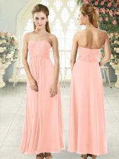 Custom Designed Peach Chiffon Zipper Sweetheart Sleeveless Ankle Length Homecoming Dress Lace