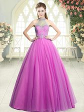 Pretty Pink Sleeveless Beading Floor Length Prom Party Dress