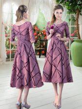 Low Price Pink Scoop Zipper Ruching Prom Dress Half Sleeves