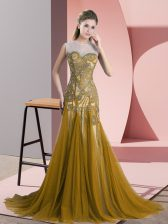 Tulle Scoop Sleeveless Sweep Train Backless Beading and Appliques Prom Dresses in Brown