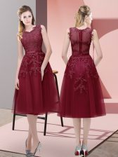 Burgundy A-line Beading and Lace and Appliques Prom Gown Lace Up Tulle Sleeveless Tea Length