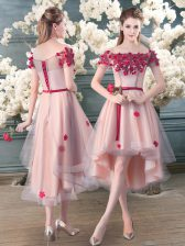 Pink Lace Up Off The Shoulder Appliques Dress for Prom Tulle Short Sleeves