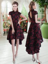 Red And Black Short Sleeves High Low Appliques Zipper