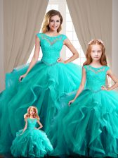 Sophisticated Ball Gowns Quinceanera Dresses Aqua Blue Scoop Cap Sleeves Lace Up