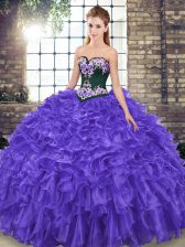 Purple Quinceanera Dresses Sweetheart Sleeveless Sweep Train Lace Up