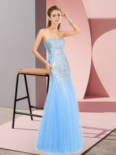 Unique Floor Length Zipper Blue for Prom and Party with Beading
