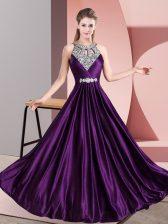 Purple Empire Beading Dress for Prom Zipper Satin Sleeveless Floor Length