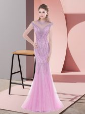 Nice Pink Lace Up Prom Gown Beading Cap Sleeves Sweep Train