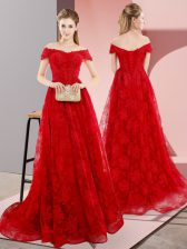 Vintage Sleeveless Beading and Lace Lace Up Dress for Prom with Red Sweep Train