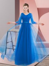 Affordable Long Sleeves Lace Up Floor Length Beading Homecoming Dress