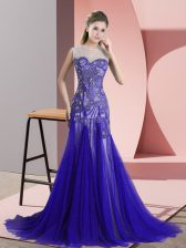 Blue Sleeveless Tulle Sweep Train Backless Prom Dress for Prom and Party and Military Ball