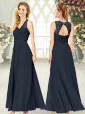 Ankle Length Black Prom Evening Gown Chiffon Sleeveless Lace