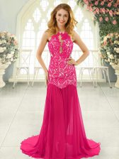 Hot Pink Mermaid Scoop Sleeveless Chiffon Brush Train Backless Lace Prom Party Dress
