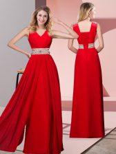 Red Column/Sheath Chiffon V-neck Sleeveless Beading Floor Length Lace Up Dress for Prom