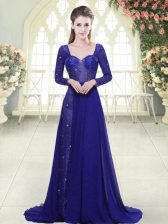 Fancy Chiffon Long Sleeves Prom Dresses Sweep Train and Beading and Lace