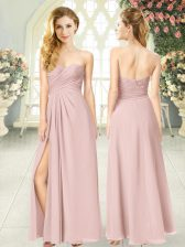 Pretty Pink Empire Ruching Prom Party Dress Zipper Chiffon Sleeveless Floor Length