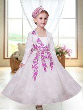 White Sleeveless Ankle Length Embroidery Zipper Flower Girl Dresses