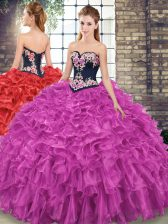 Fashionable Fuchsia 15th Birthday Dress Military Ball and Sweet 16 and Quinceanera with Embroidery and Ruffles Sweetheart Sleeveless Sweep Train Lace Up