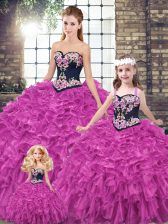 Fuchsia Sleeveless Organza Lace Up Quinceanera Dress for Military Ball and Sweet 16 and Quinceanera