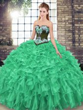 Organza Sleeveless Quinceanera Gowns Sweep Train and Embroidery and Ruffles