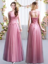 High End Pink Scoop Neckline Lace Damas Dress Sleeveless Lace Up