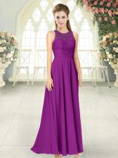 Fancy Floor Length Empire Sleeveless Purple Dress for Prom Backless