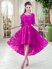 Fuchsia Zipper Scoop Half Sleeves High Low Evening Dress Lace