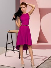 Suitable Fuchsia Lace Up Scoop Belt Evening Dress Sleeveless