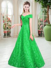 Fashionable A-line Evening Dress Green Off The Shoulder Lace Sleeveless Floor Length Lace Up