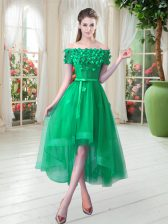 Green Short Sleeves High Low Appliques Lace Up Homecoming Dress