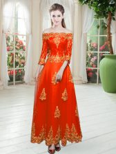 Orange Red Lace Up Off The Shoulder Lace Prom Dresses Tulle 3 4 Length Sleeve