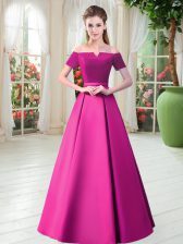 Short Sleeves Floor Length Belt Lace Up Prom Gown with Fuchsia