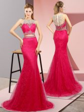 Beautiful Hot Pink Dress for Prom Scoop Sleeveless Sweep Train Lace Up