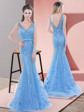 V-neck Sleeveless Tulle Prom Party Dress Beading and Sequins Sweep Train Backless