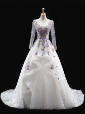Glamorous White Sweet 16 Quinceanera Dress Scoop Long Sleeves Brush Train Backless