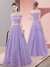 Flare Floor Length A-line Sleeveless Lavender Dress for Prom Zipper