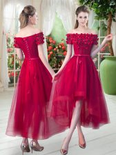 Beauteous Red Prom and Party with Appliques Off The Shoulder Short Sleeves Lace Up