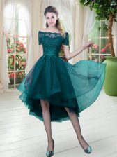 High Low Peacock Green Prom Gown Off The Shoulder Short Sleeves Lace Up