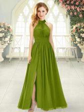 Custom Design Olive Green Halter Top Zipper Ruching Dress for Prom Sleeveless