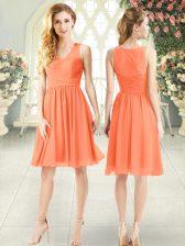 Knee Length Empire Sleeveless Orange Prom Dress Side Zipper