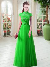 Appliques Evening Dress Lace Up Cap Sleeves Floor Length