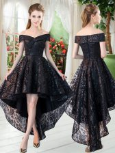 Spectacular High Low A-line Sleeveless Black Prom Gown Zipper