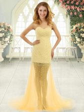 Exceptional Gold Tulle Zipper Prom Evening Gown Sleeveless Brush Train Beading