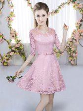 Flare Pink Lace Zipper Quinceanera Court Dresses Half Sleeves Mini Length Belt